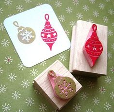 Christmas Baubles Hand Carved Rubber Stamps
