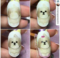 Cartoon Nail Designs, Animal Nail Designs, Crazy Nail Designs, Nail Art Designs, Dog Nail Art, Animal Nail Art, Dog Nails, Cute Nails, Pretty Nails