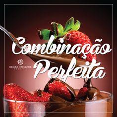 Morango com chocolate 🍓 🍫 🍓 🍫 Quem já experimentou este sabor, sabe que é sensacional 😍 #DeniseValverde #Chocolate #Morango #Perfeito #Delicia #Bolo #Doce #Bombom #Combinação #Amor