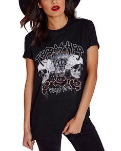 women t-shirt  Womens Street Punk Style Printed Tops Juniors T-Shirt Summer Tee