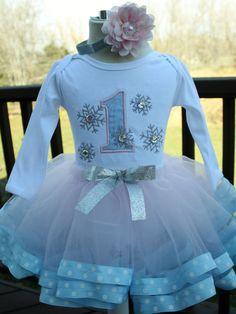 Winter wonderland snowflake girls first birthday by christy961, $60.00