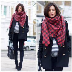 Zara Casaco de lã, Top Topshop, Skinnies Maternidade J Brand, Saint Laurent New Boots, H & M cachecol de lã Velho, luvas H & M, Bolsa Celine