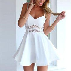 White Black Summer Fashion Women Strap V Neck Crochet Lace Waist Skater Dress