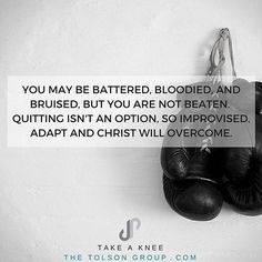Christ has assured us that victory over evil is a forgone conclusion. You cannot be defeated unless you abandon the fight and flee the battle. You may be battered, bloodied, and bruised, but you are not beaten. Quitting isn't an option, so improvise, adapt, and Christ will overcome.  Be a bulldog in the faith.  This is just a little excerpt from Take a Knee. It is a daily devotional and way for you to 'take a knee' with your kids. Treat yourself with a book, and get a copy for them and…