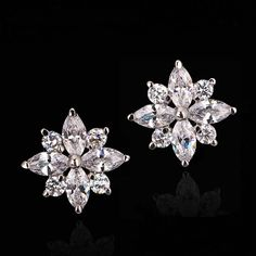 Earrings - Platinum Plated, Cubic Zirconia Flower Studs Crystal Snowflakes, Cute Earrings, Austrian Crystal, Silver Color, Heart Ring, Studs, Plating, Jewelry Accessories, Brooch