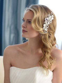 Vintage Hair Clip, Bridal Hair Clip, Wedding Hair Clip, Rhinestone Hair Comb, Floral Hair Clip, Silv