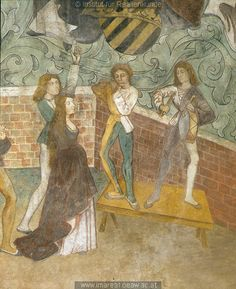 """Mural with dancers and the prince-electors at Zvikov"", c. 1480-1500 Bohemia"