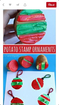 Stamping Craft: Christmas Ornament Bulbs (Christmas craft for kids to mak. Potato Stamping Craft: Christmas Ornament Bulbs (Christmas craft for kids to mak., Potato Stamping Craft: Christmas Ornament Bulbs (Christmas craft for kids to mak. Kids Crafts, Christmas Crafts For Toddlers, Toddler Crafts, Holiday Crafts, Childrens Christmas Crafts, Christmas Activities For Preschoolers, Kids Diy, Christmas Art, Christmas Projects