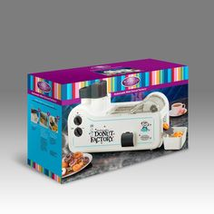 Automatic Mini Donut Factory - A complete donut factory that mixes, shapes and cooks batches of mini donuts in minutes! Now you can cook hot and tasty mini donuts in your own kitchen! Your family and friends will enjoy watching the donuts travel down the donut slide into the donut bin.
