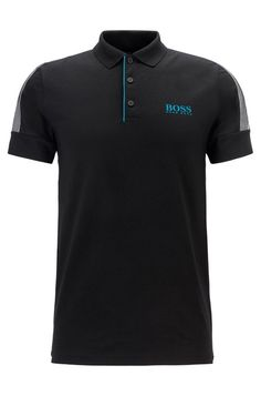 BOSS - Slim-fit golf polo shirt with S. Black Polo Shirt, Golf Polo Shirts, Bellisima, Hugo Boss, Slim, Fitness, Mens Tops, Outfits, Free Shipping