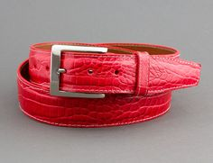 Wrap yourself in the exotic look of our Red Embossed Alligator Belt. Custom Belts, Custom Belt Buckles, Alligator Belt, Red Belt, Watch Straps, Men's Belts, Salman Khan, Phone Covers, Emboss