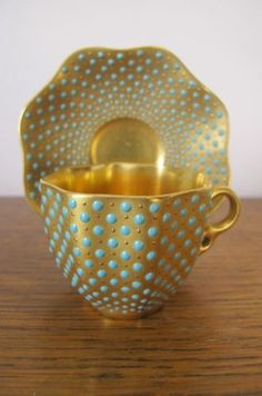 Coalport...Fabulous Gold and Blue cup and saucer