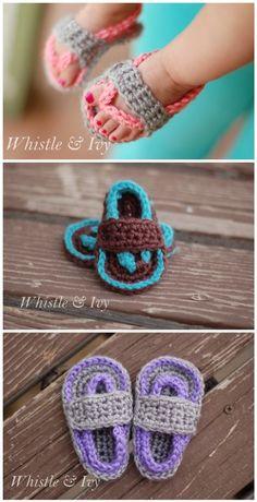 DIY Crochet Baby Flip Flop Sandals | DIY Tag