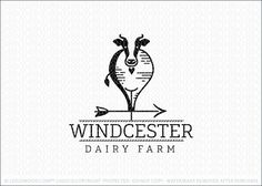 Logo for sale by Melanie D: Clean and contemporary front view of a cow created with sleek lines. The modern cow design is incorporated into a weather vane to create a unique look. The simple and sleek cow logo design represents organic, healthy and natural dairy farming.