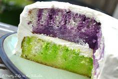 Rainbow Jello Cake!  Yum.