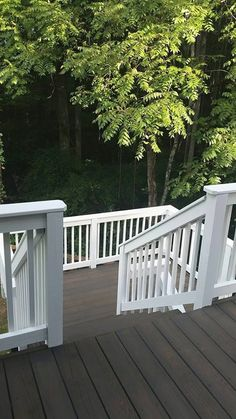 Two tone deck. Painted white railings and 1 coat Cabot semi solid Burnt Hickory. Looks almost like trex decking. They did such a good job.