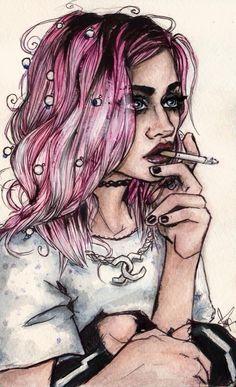 A whimsical&wonderful portrait by @kfridayshoow. Frances Bean Cobain