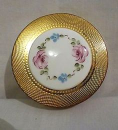 Vintage compact with porcelain hand-painted decoration