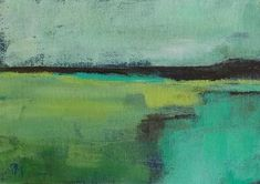original acrylic painting abstract landscape turquoise yellow. $25.00, via Etsy.