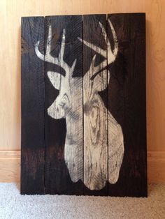 Woodworking Training Deer Silhouette Sign Made From Reclaimed Pallet Wood by EandASigns on Etsy - Rustic Crafts, Wood Crafts, Tables Tableaux, Wood Pallets, Pallet Wood, Silhouette Sign, Deer Art, Wood Burning Patterns, Pallet Art