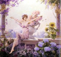 Spring Equinox: Flora was the Roman Goddess of flowers and springtime. (Painting of the Goddess Flora by Louise Abbéma, Belle Epoque, Women Artist, Munier, Nail Designs Spring, Oil Painting Reproductions, Art Moderne, Gods And Goddesses, French Artists, Figurative Art