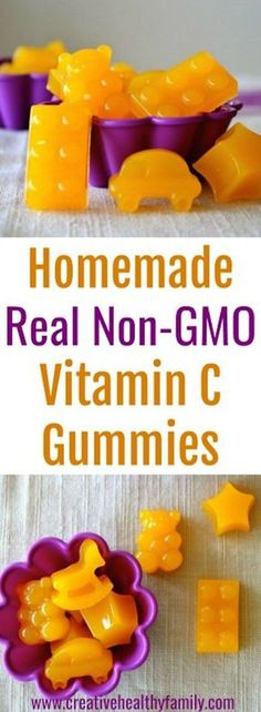These Homemade Real Non-GMO Vitamin C Gummies are made from fruits that contain lots of naturally-occurring vitamin C. Make your own Vitamin C vitamins. #vitamins #supplements #organic #homemade #vitaminC #gummies #non-gmo #real