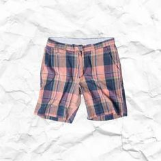 Vintage Madras Shorts for Men, Classic Fit Shorts, Retro Plaid Chinos
