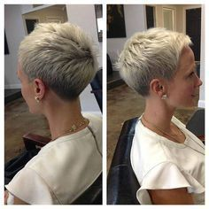 """How to style the Pixie cut? Despite what we think of short cuts , it is possible to play with his hair and to style his Pixie cut as he pleases. For a hairstyle with a """"so chic"""" and pointed… Continue Reading → Haircut For Older Women, Short Hair Cuts For Women, Short Hairstyles For Women, Short Cuts, Modern Hairstyles, Super Short Hair, Short Grey Hair, Short Pixie Haircuts, Pixie Hairstyles"""