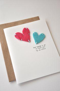 Handmade Cards | Handmade Anniversary Card - Handmade Greeting Card - Felt Hearts - I ...