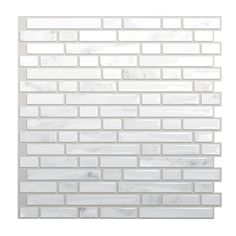 Varick Gallery Self-Adhesive Metallic Mosaic Tile in White & Gray