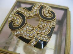 Vintage Black Enamel & Rhinestone Open Heart by Sisters2Vintage