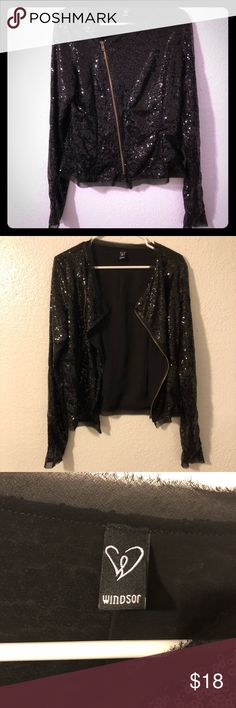 Windsor Black Sequin Jacket Super cute! Lots of sequins! From Windsor. Features a zipper that zips towards the side to give an even cooler look. Size on tag says large but it seems like it would fit more like a medium. Windsor Jackets & Coats