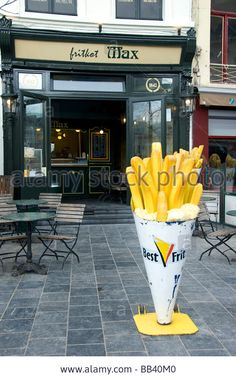 Belgian Frit Shop french Fries In Antwerp Belgium Stock Photo Spiral Potato, Baked Mussels, Chunky Chips, Food Business Ideas, Food Poster Design, Cafe Interior Design, Coffee Shop Design, Food Packaging Design, Fast Food Restaurant