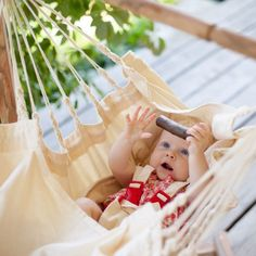 When baby is ready to experience his body apart from yours, the gentle swinging motion of our Baby Hammock soothes him all the way from smiles to sleep. It can be adjusted to both an opened and a closed position for play or for sleep. Because it includes a five point harness, you will know he is safe. Securing the hammock to the ceiling is easy with our Chair Hanging Kit. Sold separately, this kit includes a carabiner, hook and steel loop.