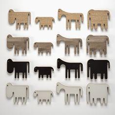 animaux stylisés en bois