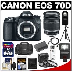 Canon EOS 70D Digital SLR Camera Body with 18-200mm IS Lens + 64GB Card + Battery + Case + 3 UV/CPL/ND8 Filters + Flash + Tripod + Kit for sale