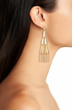 Perfect Length for these statement earrings by Jules Smith's  Freddy Chandelier Earrings