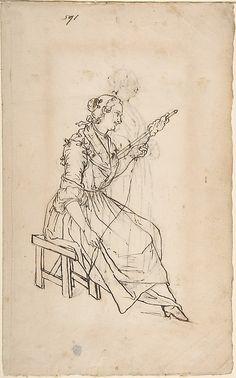 A Woman Spinning (recto); A Woman Holding a Bundle (verso)  Giacomo Ceruti (Italian, Milan 1698–1767 Milan)  Date: 18th century