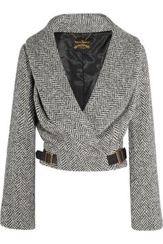 Hugger wool-blend herringbone tweed jacket by Vivienne Westwood Anglomania # Beauty mujeres Women's Discount Designer Clothes Trend Fashion, Fashion Outfits, Fashion Design, Tweed Jacket, Clothes For Sale, Clothes For Women, Vivienne Westwood Anglomania, Elegantes Outfit, Inspiration Mode