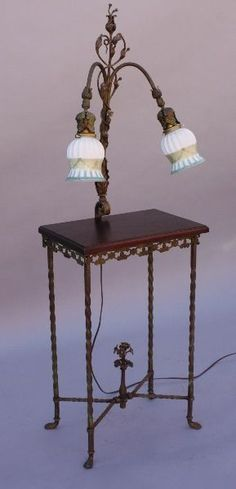 1920s Wrought Iron Table w Attached Lamp Light Antique Fits Spanish Tudor (9004)