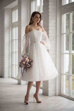Boho wedding dress tea length short mini tulle peas light Ivory wedding gown off sloulder long sleeve elegant beach short modern simple lace - Tea Bridesmaids Gowns Vintage Style, Calf Length Dresses for . Wedding Dress Tea Length, Short Lace Wedding Dress, Tea Length Bridesmaid Dresses, Wedding Dress Chiffon, Tea Length Dresses, Wedding Gowns, Ivory Wedding, White Tea Length Dress, Civil Wedding Dresses