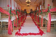 Red wedding aisle runner and off centered pew bows with greenery. Wedding Book, Our Wedding, Dream Wedding, Cute Wedding Ideas, Wedding Inspiration, Red And White Weddings, Gold Weddings, Wedding Ceremony Decorations, Wedding Aisles