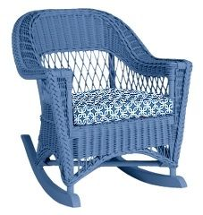 """Relax with a glass of iced tea in the """"Molly"""" rocker from Maine Cottage.  Beautifully crafted wicker is available in Maine Cottage signature colors. For more info, go to youboutiques.com. #home furnishings#wicker#chairs#Maine Cottage#YOU!Boutiques"""