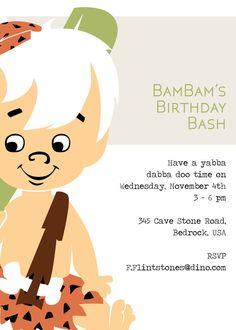 BamBam Birthday Bash Invite Customizable Digital by DesignByGoats