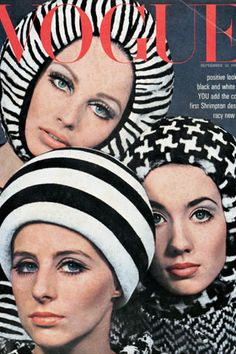 """Cover Hats  SEPTEMBER 1965 - With Vogue advising, """"positive new looks in black and white"""" for autumn, on the cover David Bailey shot models in a monochrome mix of tweed and striped hats. #passion4hats"""