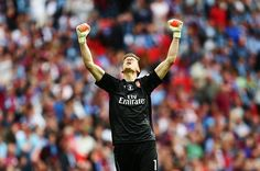 Wojciech Szczesny of Arsenal celebrates during the FA Cup Final between Aston Villa and Arsenal at Wembley Stadium on May 30, 2015 in London, England.