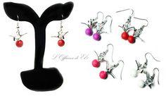 earrings with birds    orecchini con uccelli in origami