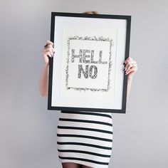 Illustration, printed poaster with a quot – HELL NO – a unique product by Bieroza via en.dawanda.com