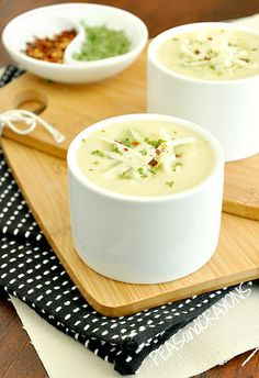 Creamy Cauliflower Soup w/ Asparagus Pesto