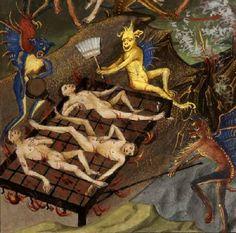 Hi, do you want my broom? Illustration from Traité des quatre dernières choses by Jean Le Tavernier, c. 1455